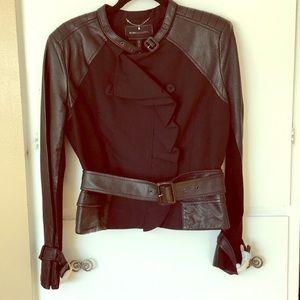 NWT BCBGMaxazria Black Leather and cotton jacket.